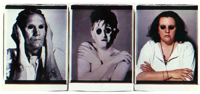 La morte si manifesta, 1984. Trittico di polaroid, 61x51 cm ciascuna