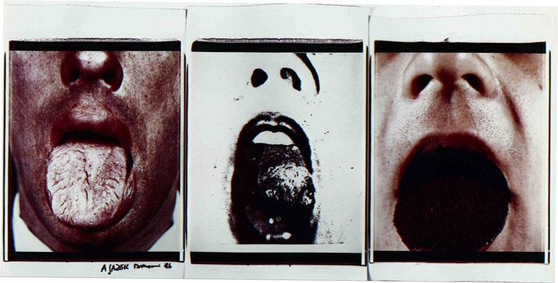 Tu le fai uno sberleffo, 1984. Trittico di polaroid, 61x51 cm ciascuna