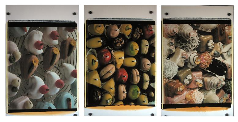 Trittico dei Bonbon,1988-89. Trittico di polaroid, 61x51 cm ciascuna