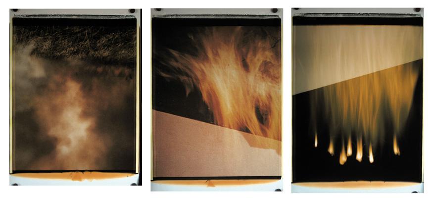 Trittico del fuoco,1988-89. Trittico di polaroid, 61x51 cm ciascuna