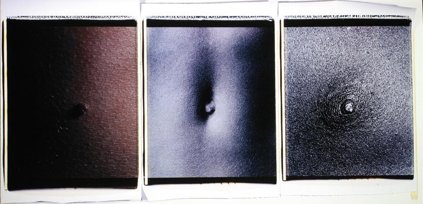 Trittico dell'ombelico,1988-89. Trittico di polaroid, 61x51 cm ciascuna