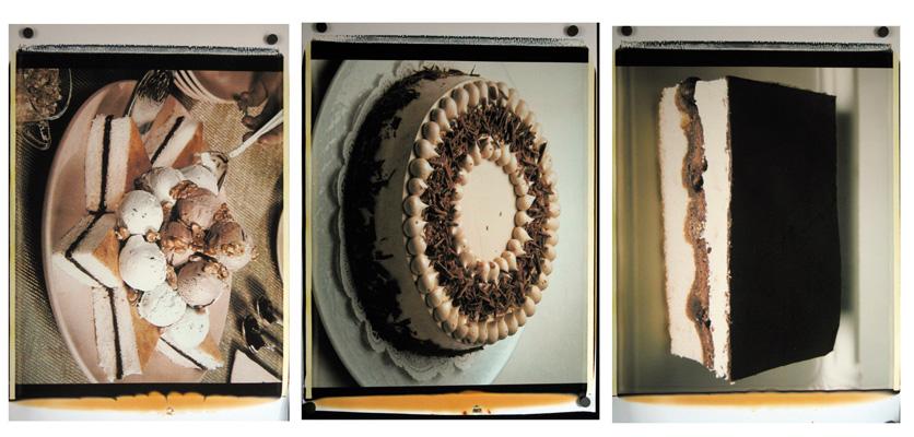 Trittico delle torte,1988-89. Trittico di polaroid, 61x51 cm ciascuna